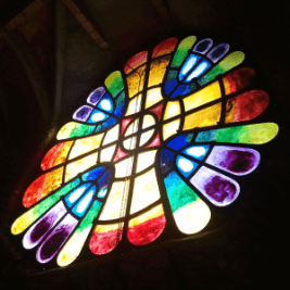 Colonia Guell stained glass seen on this tour