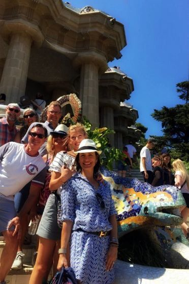 Family on tour in Park Guell, one of the Barcelona must see in two days