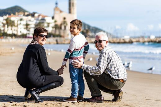Family in Sitges during tour