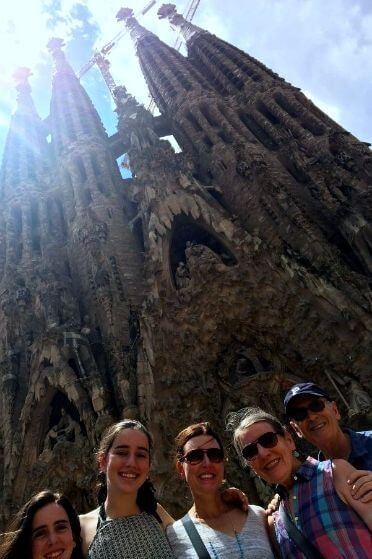 Family during a private car tour in barcelona
