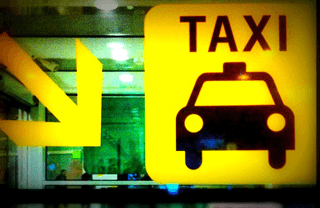 Taxi sign at the Barcelona el Prat airport