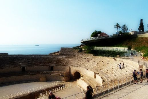 At the amphitheater during our day trip to Tarragona and Sitges