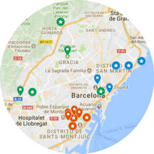 Private Barcelona Park and Gardens Tour Map