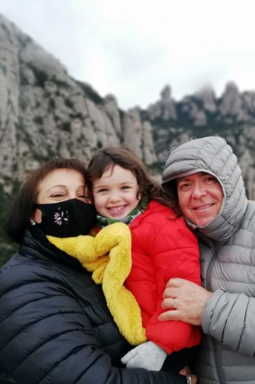 Grandparents and grandchild on one of our Montserrat day trip from Barcelona