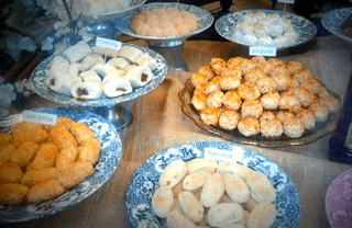Panellets displayed at a shop