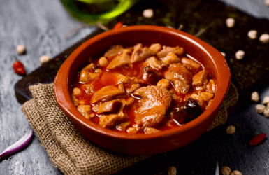Meat stew at a Barcelona restaurant
