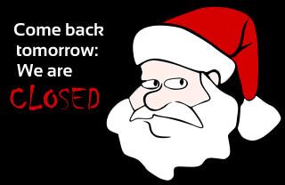 Christmas Bank Holidays in Barcelona, Spain: Santa Claus saying it's closed