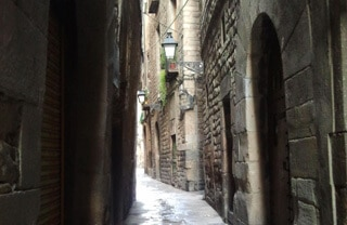 medieval alleys around Gothic Quarter Hotels Barcelona Spain