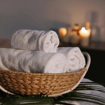 Towel basket at a Barcelona Hotel Spa