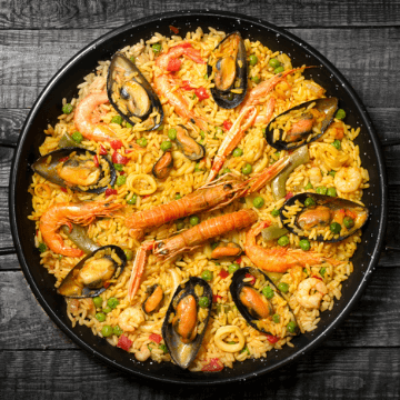 Paella in one of the restaurants in Barcelona