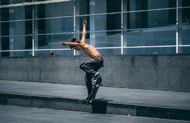 Skateboarder by the MACBA, El Raval