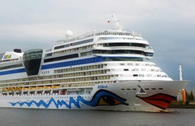 Aida ship in the Barcelona pier