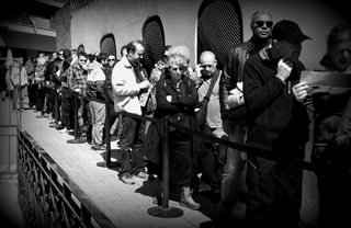 People waiting in line in Barcelona