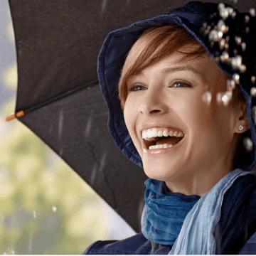 Woman in the rain in Barcelona