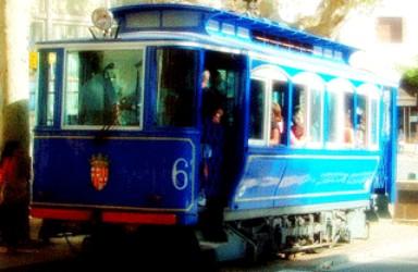 Blue Tram in Barcelona