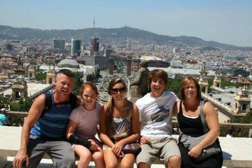 Family on a Mountain of Montjuic Walking Tour