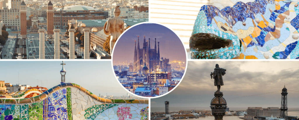 Barcelona sites in our Montjuic, la Sagrada Familia and Park Guell tour