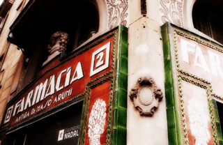 Vintage sign of a pharmacy in Barcelona