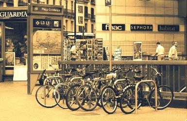 Bikes in the Barcelona city center