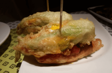 Stuffed zucchini flowers, a Summer delicacy from Spain