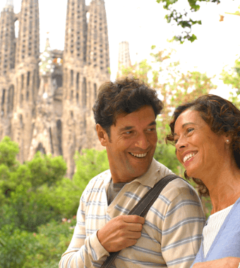 Couple on a private tour in front of Sagrada Familia in Barcelona