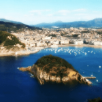 San Sebastian - view from Mount Igeldo with light on Santa Clara Island