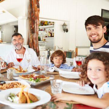 Family eating Spanish food for kids