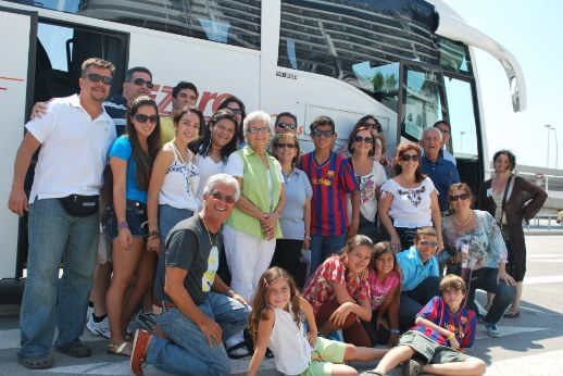 Family during a private minibus hire in Barcelona, Spain