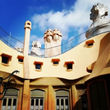 Rooftop of Casa Mila seen from inside the patios