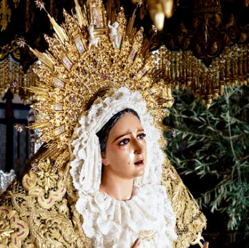 Virgin sculpture in a Barcelona Easter parade