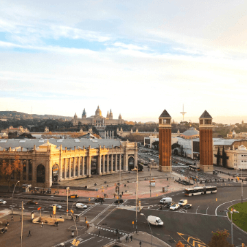 View from a restaurant: Montjuic