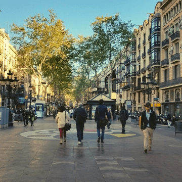 People walking to one of the venues in our Rambla Restaurant Selection