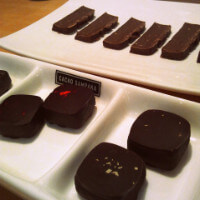 Chocolate trays during a tasting