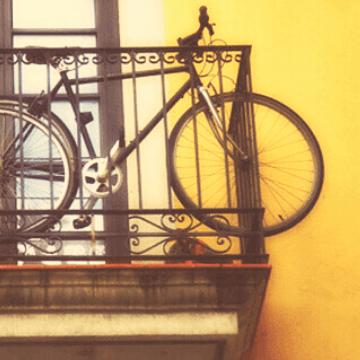 Bike on a Barcelona hotel with balcony