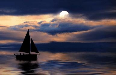 Night sail in Barcelona