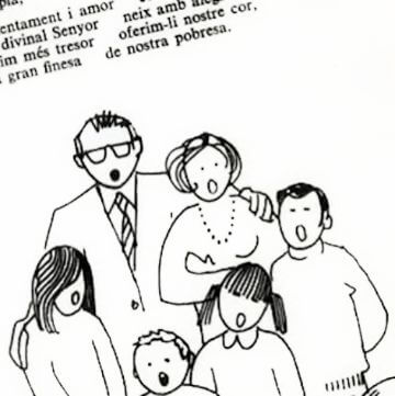 Black & white drawing of a family singing Catalan Christmas jingles
