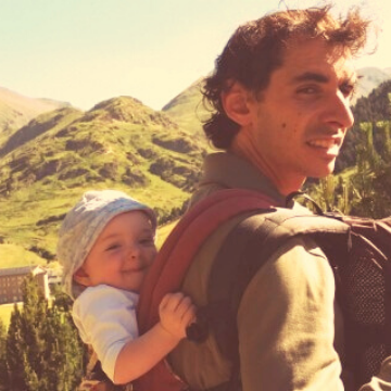 Father and baby Hiking Catalonia Spain