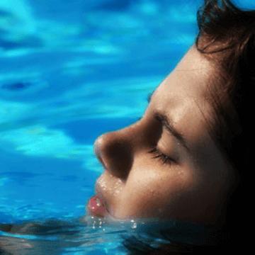 Girl at a Barcelona Hotel Indoor Pool