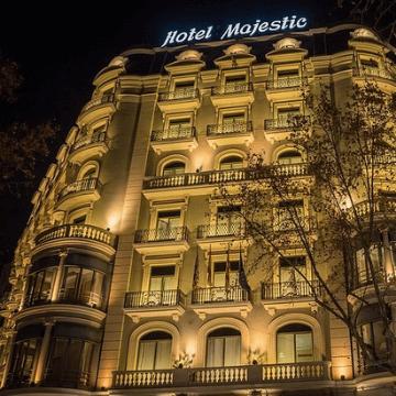 Hotel Majestic at night