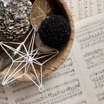 Christmas decoration over music sheets