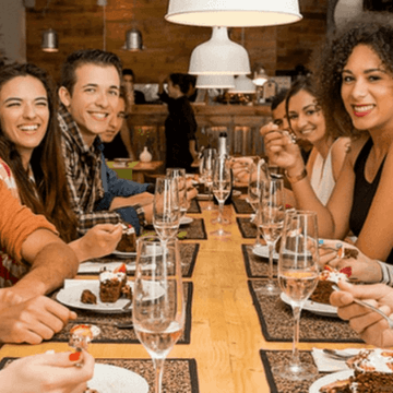 People eating in one of the Best Barcelona restaurants for groups