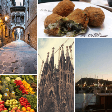 Collage with things to do in one day Barcelona Spain
