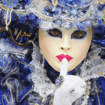 Masked person celebrating Carnestoltes in Barcelona