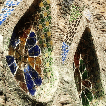 Detail of the outside of one of the Gaudi sites beyond Barcelona