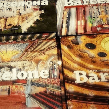 Barcelona coffee table books displayed in a giftshop