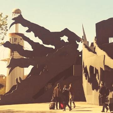 Dragon sculpture seen around the Barri de Sants in Barcelona