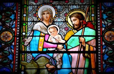 Stained Glass of the Holy Family in the Montserrat Monastery