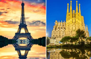 Paris vs Barcelona: Eiffel Tower vs Sagrada Familia