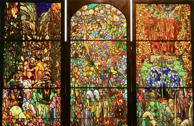 stained glass in barcelona spain