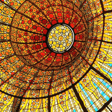 Beautiful stained glass Barcelona Spain